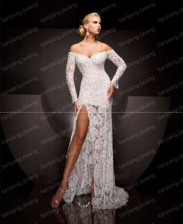 ivory Lace Bridal Gown Evening Prom Pageant dresses Long Sleeve