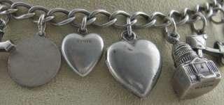 Vintage Sterling Silver Charm Bracelet 1940s Era HEARTS MOVERS