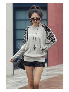 Fashion Womens Leopard Print Cotton Blends Casual Long Sleeve T shirt
