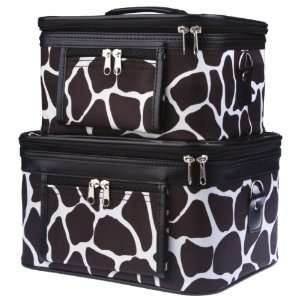 Two Giraffe Brown Patch Train Cases Cosmetic Makeup Beauty