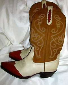 WOMENS NINE WEST CREAM/COGNAC COWBOY WESTERN BOOTS 8