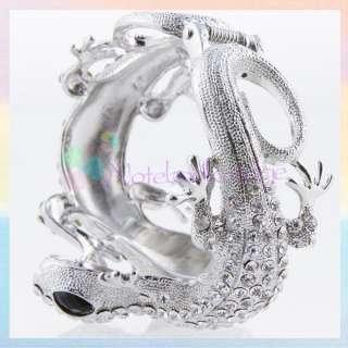 Double Lizard Cuff Bangle Bracelet Animal Rhinestone Wide Wrist Band