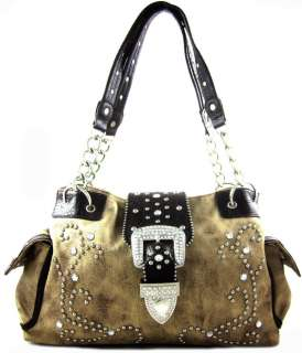 Western Cowgirl Rhinestone Belt Buckle Studded Chain Tote Purse