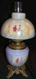 ANTIQUE 1890s MILK GLASS PARLOR LAMP W HALF MOON SHADE