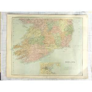 BARTHOLOMEW ANTIQUE MAP c1870 IRELAND DUBLIN BAY