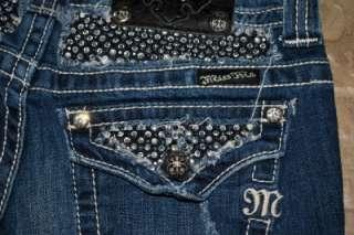 Miss Me Sparkly Rhinestone Distressed Boot Stretch Jeans sz 26 x 35