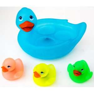 Flashing Light Up Duck Family Vinyl Bath Toy Set   Blue: Toys & Games