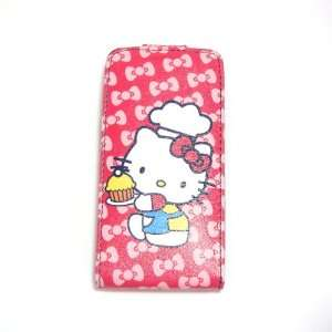 hello kitty red cooking flip leather case for iphone 4 4G