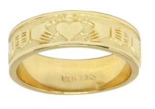Mens Silver or Gold Irish Claddagh Wedding Ring Band