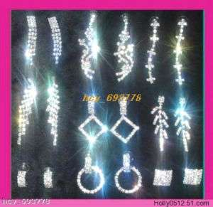 Wholesale 9Pairs Mixed Crystal Rhinestone Prom Earrings