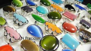 wholesale lots 20pcs Big Natural cat eye stone rings free shipping