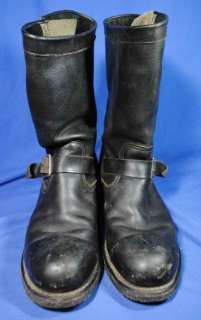 Vtg Industrial Buckle Black Leather Engineer Boots 11