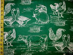 Kingdom Kitchen Toile Green Hen Rooster Cow Eggs Bunny Rabbits Farms