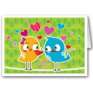 Cute love bird theme Valentines Day card set   12 carsd/13 envelopes