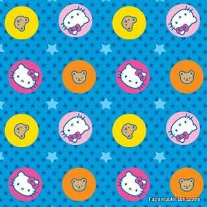 Hello Kitty Character Dots on blue by David Textiles