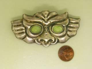 Agate Toro Bull C Clasp Sterling Silver Antique Brooch Mexican