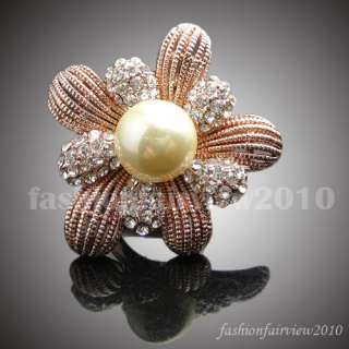 Rose Gold GP Swarovski Crystal Pearl Flower Ring VR090