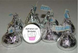 108 CUPCAKE BIRTHDAY Candy Wrappers Kiss Labels Favors