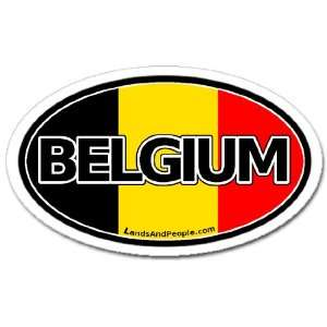 Belgium Flag Car Bumper Sticker Decal Oval