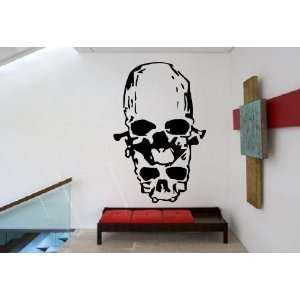 Two Cool Scary Human Deformed Skulls Design Wall Mural
