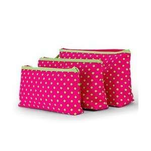 Print 3 Piece Cosmetic Makeup Bag Set Hot Pink & Lime Green Beauty
