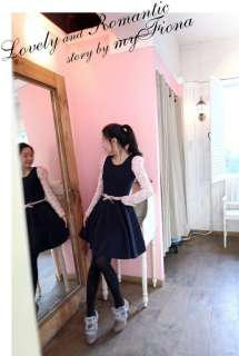 New Japan Style Lovely girls lace long sleeve skirt / Dress +Belt