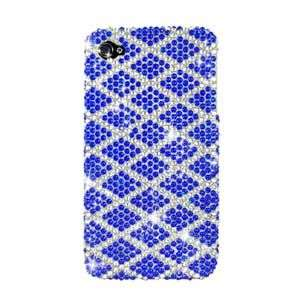 BLUE PLAID BLING HARD CASE COVER FOR APPLE IPHONE 4 4G PROTECTOR SNAP