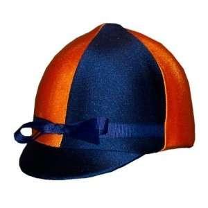 Equestrian Riding Helmet Cover   Navy Blue and Orange