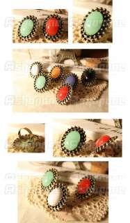 Fashion Cute Candy Color Elliptical Big Gem Stone Adjustable Ring