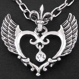 N116A Elegant Angel Heart Carved Wing Chain Necklace New