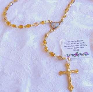 polished Czech Honey Colored Glass AB & Gold Filigree Beads