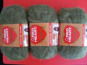 Red Heart Symphony yarn, moss green, 3 sk