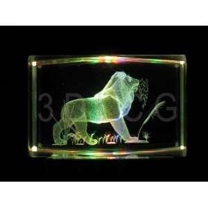 Lion 3D Laser Etched Crystal S H