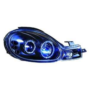 Clear Projector Headlight with Rings, Corners and Black Housing   Pair