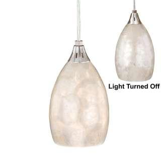 Pendant Lighting Fixture OR Track Light, Nickel, Natural Shell Glass