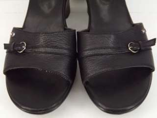 Womens shoes black leather Tommy Hilfiger 7 M wedge sandal