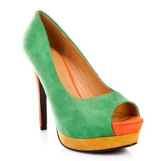 Green Coral Multi Color Suede Peep Toe Sky Hi Platform Slender Heel