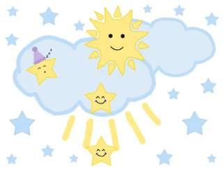 STAR MOON CLOUD BABY NURSERY WALL STICKER DECALS BORDER