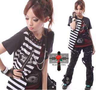 Harajuku Visual Kei Stripe LAYER Fishnet Rock Emo Top