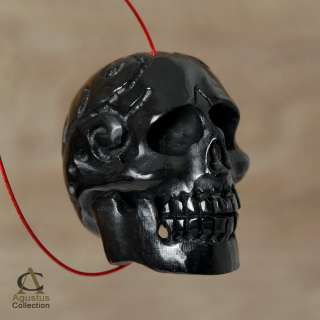 Black Buffalo HORN SKULL Focal BEAD TATTOO Design Carving Large 1 mm