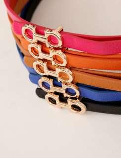 Fashion Lady Candy Color PU Leather Mini Belt Thin Belt 5 Colors 1993