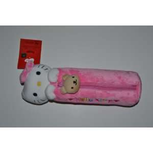 Pink Hello Kitty Plush Pencil Holder Case Bag Office