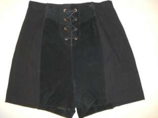 WILSONS LEATHER Black Suede & Spandex Hot Pants Short Shorts M