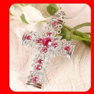 Cross pendant necklace Swarovski Pink Crystal G28
