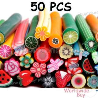 50 3D Nail Art Fruit Flower Fimo Stick Rods Polymer Clay Stickers DIY