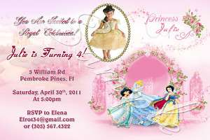 Disney Princess Custom Birthday Invitation w/envelopes