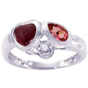 14K White Gold Heart and Pear Gemstone Ring Multi Ruby Pink Tourmaline