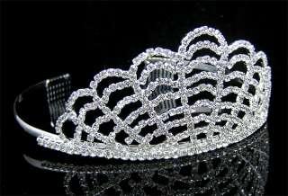 Wedding/Bridal crystal veil tiara crown headband CR181