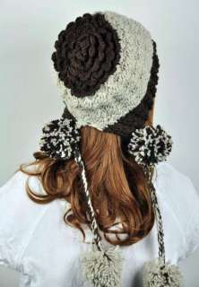 Wool Young Lady Winter Ski Hat Cap Lovely String Balls Coffee