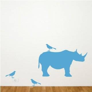 Childrens Wall Decals   Cartoon Baby Rhino   12 inch
